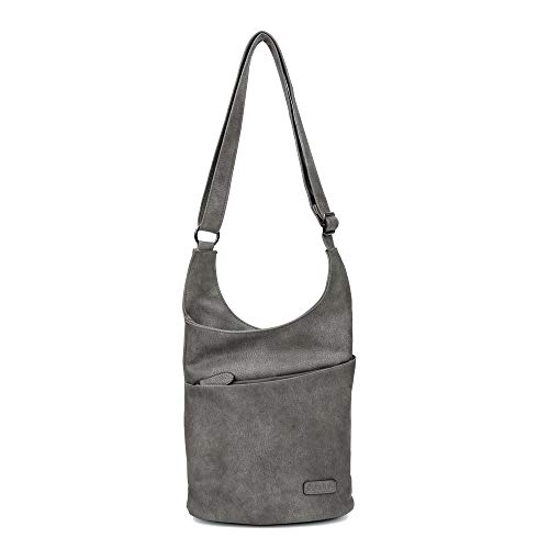 CASAdiNOVA - Umhängetasche Damen Grau Groß - Crossbody Bag - PU Leder Schultertasche - Messenger Handtasche - Damen Tasche – premium Qualität