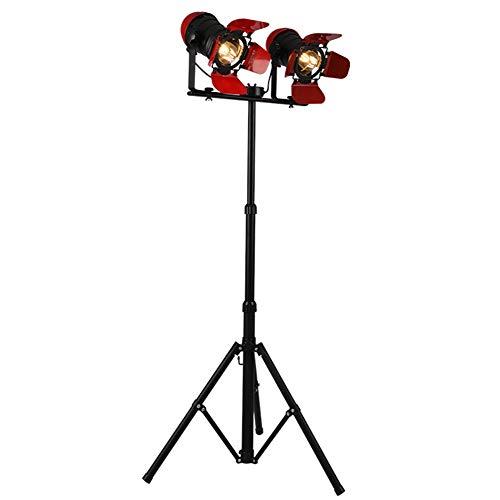 JAYLONG Retro-Stativ-Bodenlampe, Moderne Rote Kamera Form Hohe Stange Stehendes Licht Mit 2 Köpfen, Dekorative Lampen Für Wohnzimmer, Büro, Schlafzimmer, Den, ()