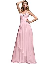 Beauty-Emily de seguridad para anclaje en sin tirantes vestido de dama de honor de chifón de sandalias planas con sujeción en vestidos de vestir de fiesta qlJ5GXs