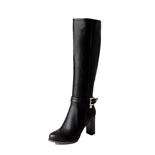 AgooLar Damen Hoher Absatz Reißverschluss Rund Zehe Stiefel mit Metallisch Schwarz