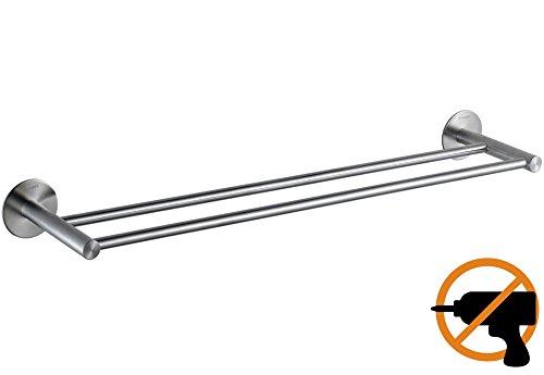 Wangel Doble Toallero de Barra Fijar Sin Taladrar 60cm, Pegamento Patentado +...