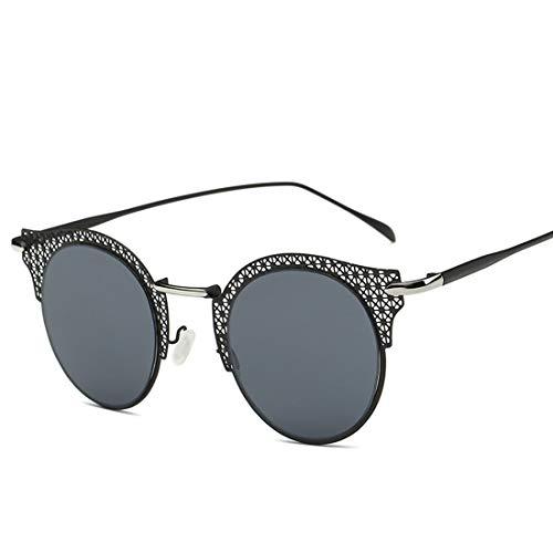 Yiph-Sunglass Sonnenbrillen Mode Runde Retro Cat-Eyed Frauensonnenbrille-Mascheneinstellung-Metallrahmen-Antrieb mit Sonnenbrille, zum der UV-Sonnenbrille zu verhindern. (Farbe : Black ash)