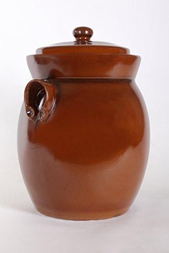 holzdekoladen Rumtopf Vorratstopf Steingut mit Wasserrille braun (7 Liter)