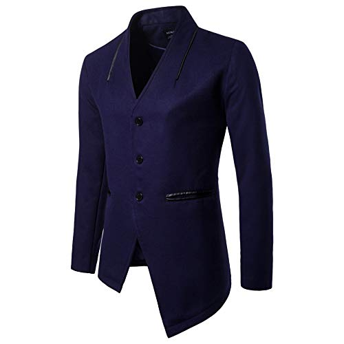 MERRYHE Männer Unregelmäßige Saum Mäntel Slim Fit Jacken Klassische Trenchcoat Polyester Business Windjacke Anzug Lässig Mantel,Navy-XS(Bust/100cm)