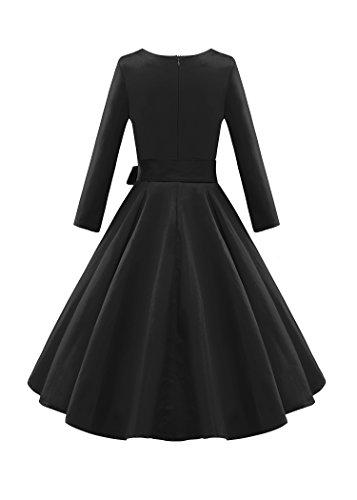 LUOUSE Damen Elegante 3/4 Ärmel 50er Retro Cocktailkleid Rockabilly Party Vintage Kleid Black