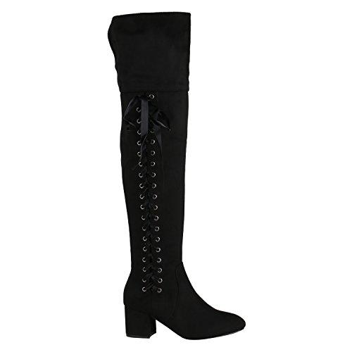 Stiefelparadies Overknees Damen Schleifen Langschaft Stiefel Leder-Optik 152612 Schwarz Satinoptik 38 | Flandell®
