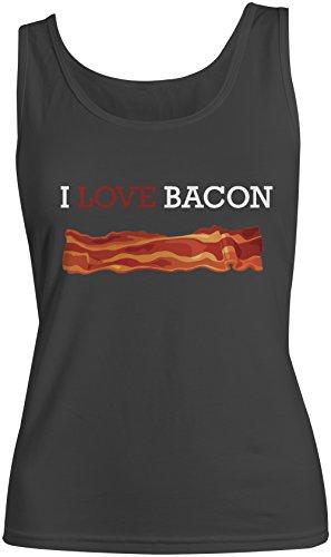 I Love Bacon Amusant Shef Cooking Food Baker Femme Tank Top Debardeur Noir