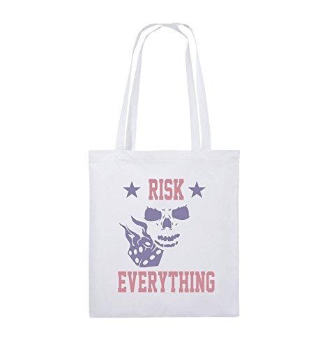 Comedy Bags - Risk everything - Jutebeutel - lange Henkel - 38x42cm - Farbe: Schwarz / Weiss-Pink Weiss / Rosa-Violet