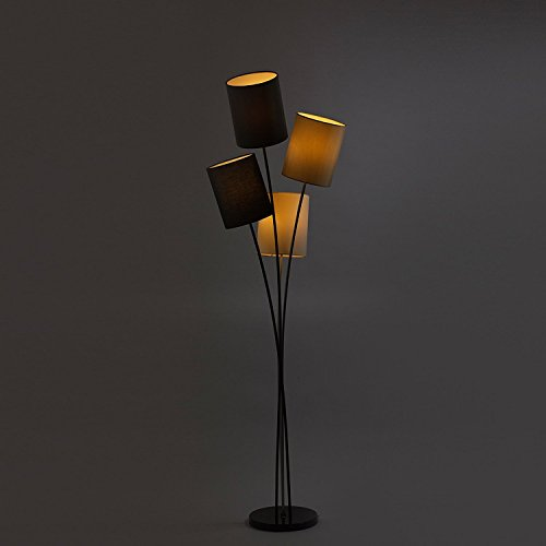 Moderne Designer Stehlampe mit 4 Lampenschirmen in weiß, grau, schwarz und beige | Wohnzimmer | Lounge | LED geeignet | Höhe 160 cm