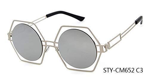 ZHAS High-End-Brille Neueste Persönlichkeit Blenden Sonnenbrille Sechseck Rahmen Runde Linse Aushöhlen Sonnenbrille Frauen Personalisierte High-End-Sonnenbrille Multi C3