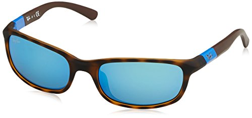 RAYBAN JUNIOR Unisex-Kinder Sonnenbrille RJ9056S, Matte Havana/Flashblue, 50