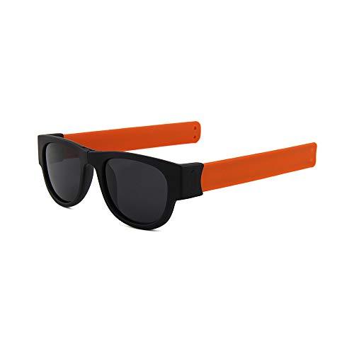 WJFDSGYG Mini Klappsonnenbrille Damen Herren Coole Trendy Outdoor Sport Sonnenbrille Uv400 Schwarz Armband Uv400
