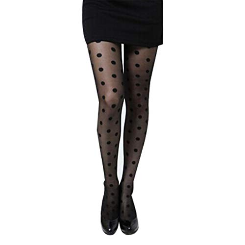 llwei258 Women Sweet Girls Acrylic Fiber Thin Pantyhose Sexy Perspective Large Polka Dot Pattern Printed Footed Tights Slim Stockings Jacquard Lingerie