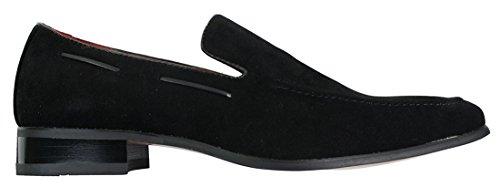 Herren Suede Slip On lässigen-eleganten Italienische Leder Schuhe Velourleder Loafer Schwarz