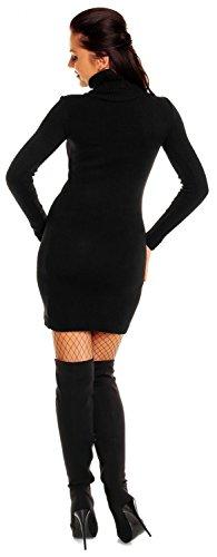 Zeta Ville - Damen Strick-kleid mit Rollkragen - Minikleid mit Stehkragen - 888z Black