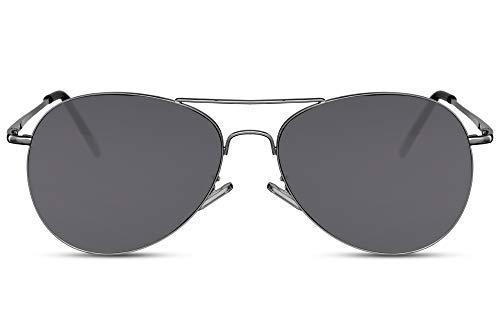 Cheapass Piloten-Sonnenbrille Schwarz UV-400 Flieger-Brille Rund Metall Damen Herren