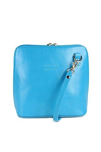 Belli Ital. Ledertasche Damen Umhängetasche Handtasche Schultertasche - 17x16,5x8,5 cm (B x H x T) (Türkis) (Tasche Damen Echtes Leder)