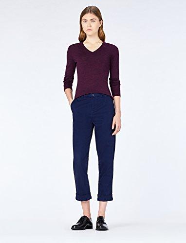 MERAKI Merino Pullover Damen mit V-Ausschnitt, Rot (Berry Marl), 36 (Herstellergröße: Small) - 2