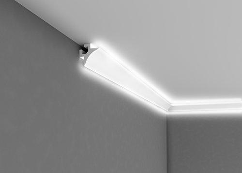 """""""BESTSELLER"""" - Licht Deckenleiste""""QL002"""" - prämierte Eckleiste für indirekte Beleuchtung - 2m Länge - 85mm Höhe"""