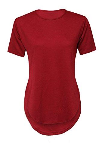 topstylefashion4u nuovo da donna casual tinta unita Crepe maniche corte maglietta donna Dip orlo Top 8–14 Wine