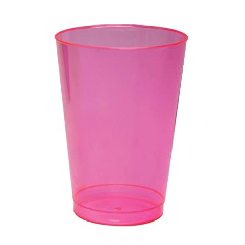 Party Essentials N102529 Brights Plastic Party Cups/Tumblers, 10-Ounce Capacity, Neon Pink (Case of