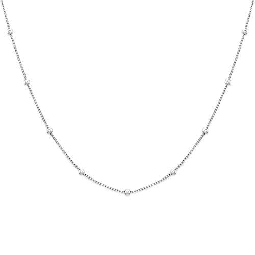 BAFFOS® Damen Halskette - Kette für Frauen - perfekte Geschenkidee - chain necklace (Perle Kleine Silber Halskette)