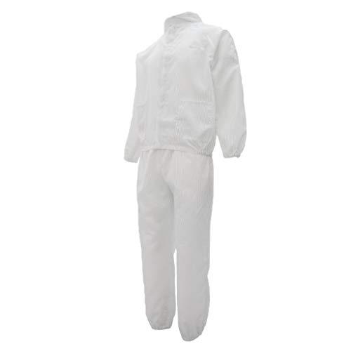 D DOLITY Dienstkleidung Set Arbeitshemden Arbeitshose Schutzanzug Maler/Malerin Arbeitskleidung Ganzkörperanzug - Weiß XL