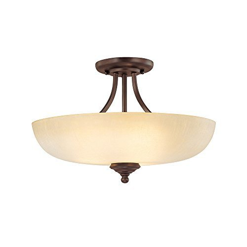Capital Lighting 3947BB-TW Semi-Flush Mount with Tumbleweed Glass Shades, Burnished Bronze Finish by Capital Lighting (Bronze Flush Semi Deckenleuchte)