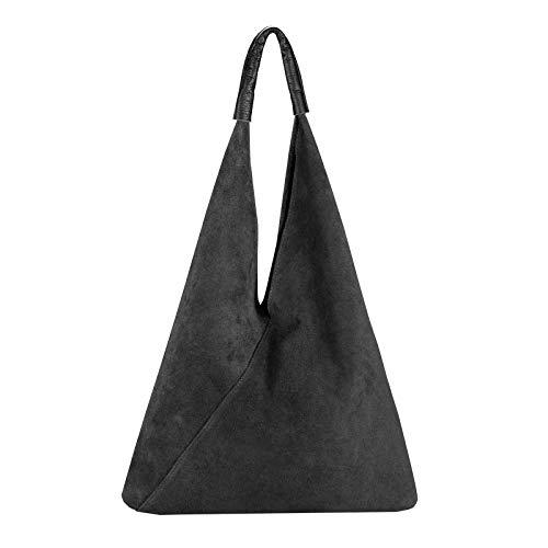 OBC Made in Italy Damen XXL Leder Tasche Handtasche Wildleder Shopper Schultertasche Hobo-Bag Umhängetasche Beuteltasche Velourleder DIN-A4 Ledertasche Schwarz -