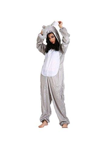 Matissa Erwachsene Tierkostüme Unisex Pyjamas Kostüm Outfit Cosplay Onesies (Elefant)