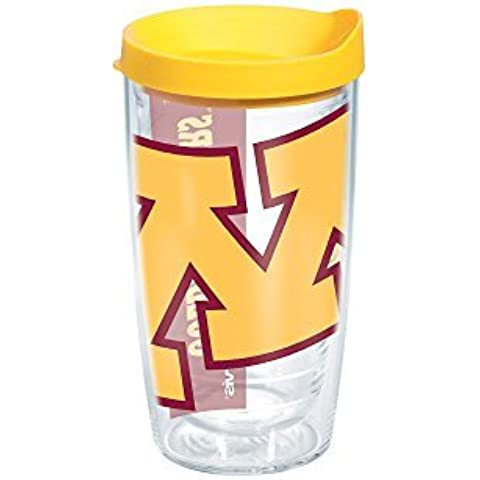 Tervis 1126312 Minnesota University Colossal Wrap Individual Tumbler with Yellow lid, 16 oz, Clear by Tervis