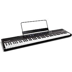 Alesis Recital - Piano Numérique 88 Touches pour Débutant/Clavier avec Touches Semi-Lestées de Taille Authentique, Adaptateur Secteur, Enceintes Intégrées et 5 Voix Premium