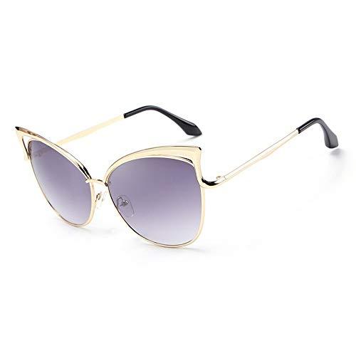WUZHOUEUR Frauen cat Eye Sonnenbrille persönlichkeit pc Legierung Rahmen uv400 Spiegel objektiv Urlaub im freien küste Mode Sonnenbrille (Color : Golden+Gray 1)