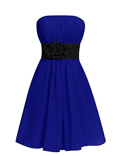 Dresstells, robe courte de demoiselle d'honneur sans bretelles avec ceinture Bleu Saphir