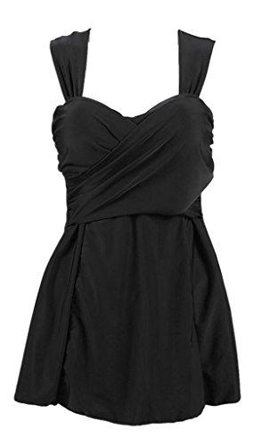 Geval Damen Zweiteiliger Badeanzug Einfarbig Rock Mit Kurze Hose Schwarz