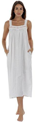 The1forU 100% Cotton Damen Nachthemd Ärmellos + Taschen 7 Sizes Meghan - Weiß, 3XL