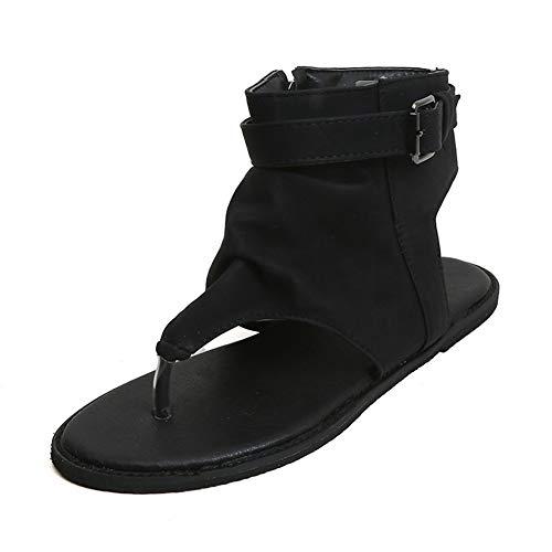 Hzyshoe Sandalen Damen Flip Flops Keilabsatz Sommer Flache Leder Peep Toe Plateau Espadrille Sandaletten, schwarz,40 - Peep-toe-taste