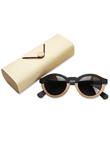Gafas de sol polarizadas de madera para hombres y mujeres Bloqueo UV Gafas de sol ovaladas Vintage Gafas de sol de moda Cat Sunglases Mujeres Hombres,Con caja de madera(negro)