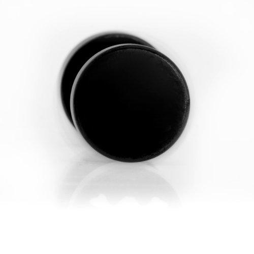 1 paio di orecchini nero Ear Plug finto acciaio Black Line piercing all'orecchio - 1135BK - 8 mm