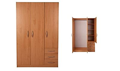 Ashton 3 door 3 Drawer wardrobe Beech metal runners SALE PRICE - inexpensive UK light shop.
