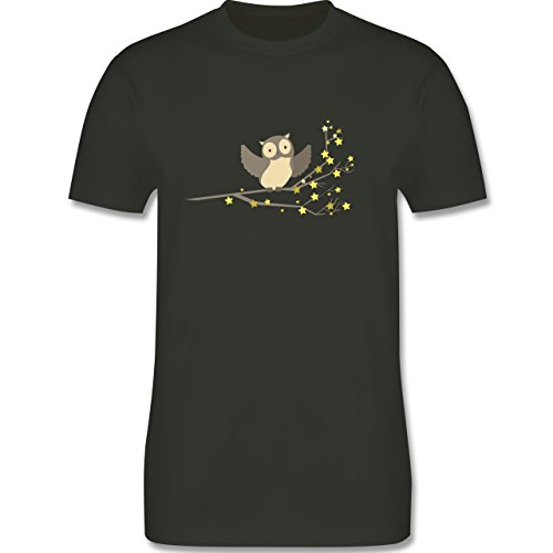Shirtracer Vögel - Kleine Eule - Herren T-Shirt Rundhals Army Grün