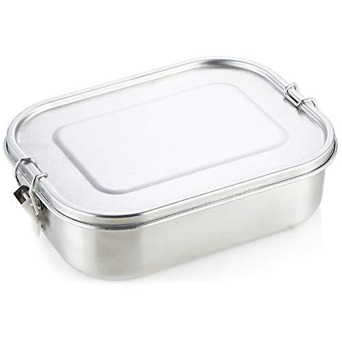 HEMCER Edelstahl Lunchbox & Brotdose, Gravur im Coolen Outdoor-Design Edelstahl Vesperdose Pausenbox. TÜV geprüft, Gesamtvolumen 1.4L, Wiederverwendbarer Meal Prep Container, Essensbox frei von BPA.