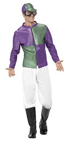Jockey Halloween Kostüm - Smiffys 44629M - Herren Jockey Kostüm, Größe: M, grün/lila