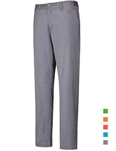 Lesmart Golfhosen Herren Lang Stretch Chinohose Golf Pants Regular Fit Größe 32W/32L Taille 81cm Grau M Logo