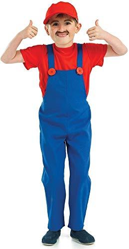 Jungen Mario Luigi Super Mario Bros Nintendo Klempner Kostüm Kleid Outfit (8-10 Jahre, Rot ()