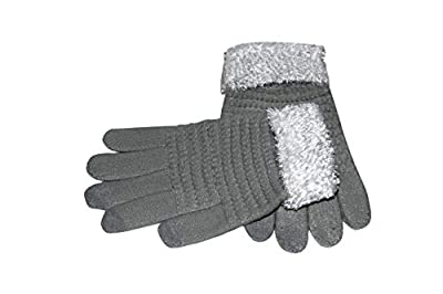 Krystle Women's Touch Screen Magic Gloves Knitted Winter Warm Smart Phone Mittens With Fur -Grey (pack of 1)