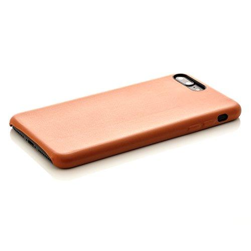 iProtect Kunstleder Schutzhülle Apple iPhone 7 Plus, iPhone 8 Plus flexibles Case in Dunkelblau Nussbraun