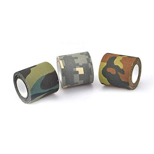 TENGD 3Pcs Stealth Camo Tape Tactical Camo Form Multi-funktionale, Nicht gewebte Fabric Stealth Tape Stretch Bandage für Outdoor Military Hunting-Woodland Camo-for Shotguns Hunting Camping