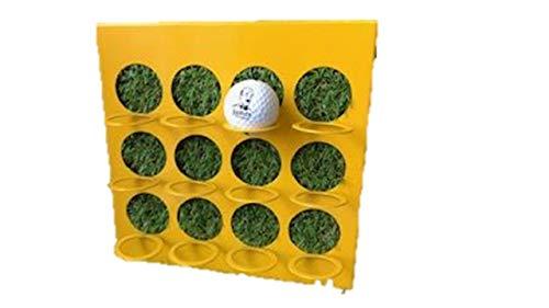 James Premium Golf-Ball Vitrine Metallrahmen gelb mit Kunstrasen 12 Golfbälle zum Stellen und hängen - Golf-ball Vitrine