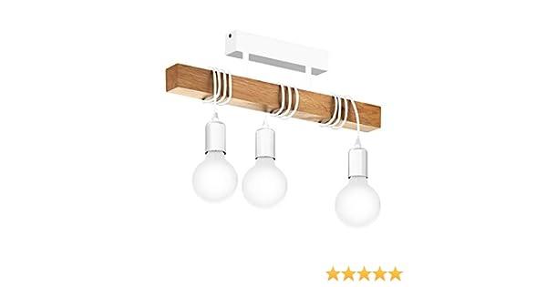 Townshend plafonnier lumières barre bois l cm blanc eglo